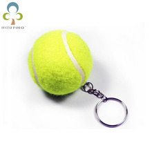 1Pc Tennis Ball Key Rings Small Tennis Balls Keychain Fashion Sports Item Key Chains Simulation Tennies Gift GYH