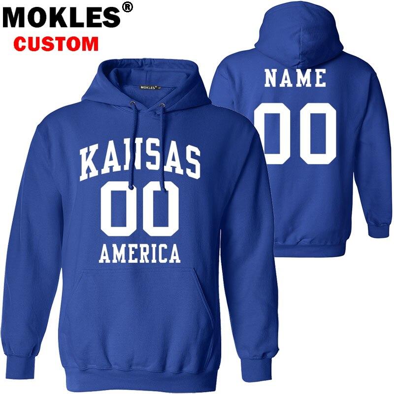 KANSAS pullover free custom name number US winter KS jersey warm Wichita Lawrence Manhattan Overland Park america Topeka clothes