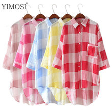 YIMOSI Women Summer Blouses Loose Shirts 2017 Korean 3/4 Sleeve Long Blouse Lady Sunscreen Tops Female Plaid Blusas Plus Size