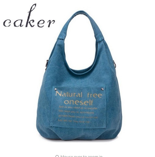 Caker Brand 2018 Women Large Big Canvus Handbag Fashion Letter Printing Handbags Blue White Khaki Dark Grey Shoulder Bags<br>