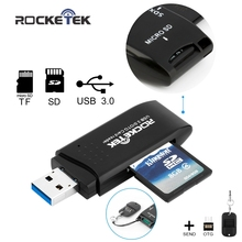 Rocketek USB 3.0 Memory Card Reader and OTG phone card reader high quality 2 Slots Card Reader for SD,TF,micro SD, SDXC, SDHC