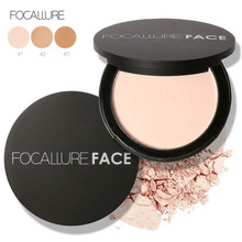 Focallure 1pc Fashion Foundation Dry wet use Fixing Compact Pressed Powder 3 colors Concealer Foundation powder for women girls(China)