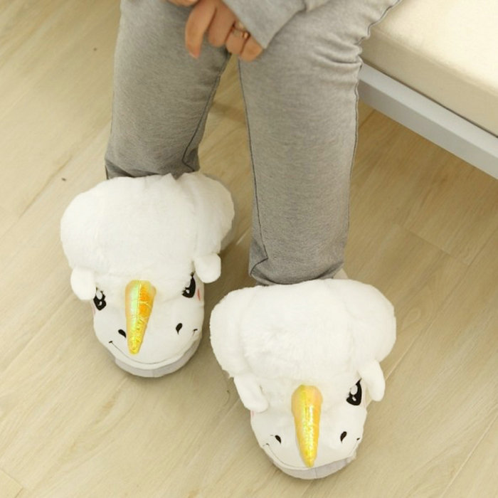 Women Indoor Home Slippers White Unicorn Plush Cotton Winter Warm Slippers Cartoon Cute Slip On Adult Size  Licorne Christmas <br><br>Aliexpress