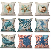 Marine Biology Cushion Covers Vintage Retro Starfish Tortoise Octopus Sea Horse Shell Conch Cushion Cover Linen Pillow Case