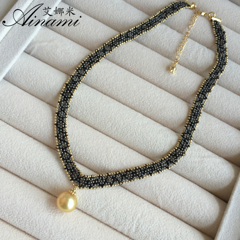 [Ainami] Hand knit Choker Necklace 10-11mm South see pearls Pendant Necklace Brand Jewelry beautiful gift for girl Free shipping