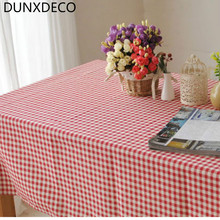 DUNXDECO Classical Linen Cotton Check Bar Coffe Store Table Cloth Party Print Fabric Kitchen Home Textile Table Cover Home Decor