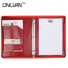 Wine Red Manager Folder PU Leather Document Holders New Design Padfolio Office Accessories Organizer Support Customized