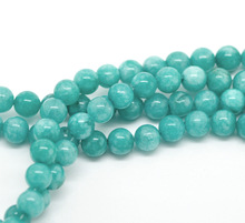 "Free Shipping Wholesale 4 6 8 10 12mm Natural Blue Amazonite Round loose stone jewelry Beads  agat Beads 15"" DIY"