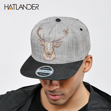 [HATLANDER]Original Quality street style snapback cap men hats vintage deer printing women baseball caps gorras bone hip hop hat(China)