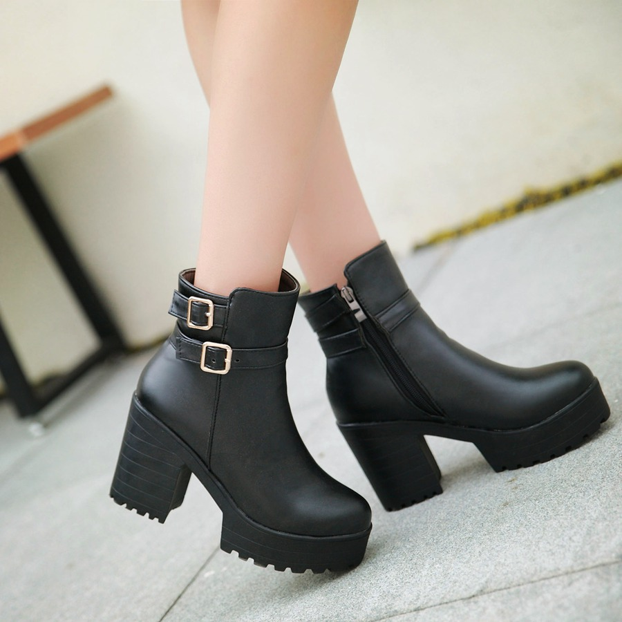 New women thick high Heels platform Ankle Boots winter Motorcycle Boots women Fashion boots casual shoes woman size 34-46<br><br>Aliexpress