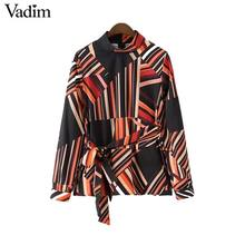 Vadim women chic turtleneck striped shirts bow tie belt long sleeve pleated blouses vintage ladies casual tops blusas LT2384(China)
