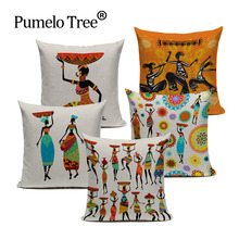 Buy African Woman Cushion Cover Dancing Lady Africa Geometric Pillow Covers Pillow Cases Color Cloth Bedroom Sofa Decoration Ethnic for $3.09 in AliExpress store