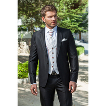 2017 New Arrival mens suits tailored suit Charcoal Wedding suit for men Groom Tuxedos Groomsman Suit Jacket+Pants+Tie+Vest(China)