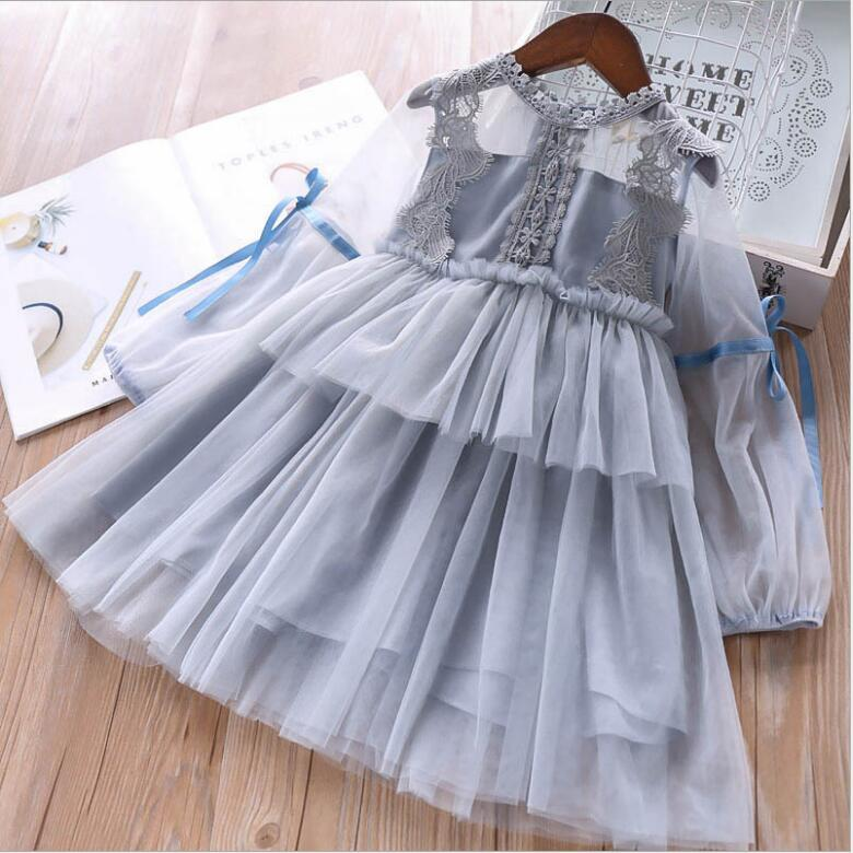 Girl Princess Dresses 2019 Girls Spring Fashion Lace Bow Long Sleeve Party Tutu Dresses Kids Dress For Girls Children Clothing