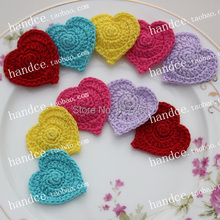 free shipping 12 pic/lot cotton crochet heart mat for table decoration lace doilies for wedding table mats coaster pads cup mat