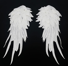 white black angel wings patch,embroidery patches for clothing shoulder motif applique 1Pair