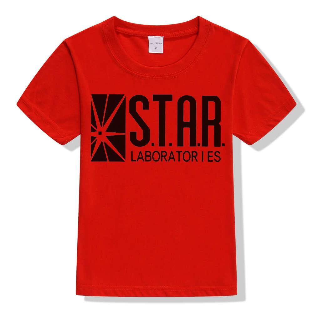 3-10Y Kids Black Star Lab Letter Print Short Sleeve T Shirt Boys Novelty T-shirt Girls Tshirt Clothes Anime Comics The Flash 8