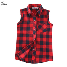 Plaid Vest Tops Fashion Checked Shirts Kid Boys Girls 2017 New Summer Sleeveless T-Shirt Button Down Outfits