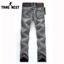 TANGNEST Man's Popular Jeans 2017 Regular Water-washed High Quality Light Grey Plus Size 28-38 For Male Popular For Male 119(China)