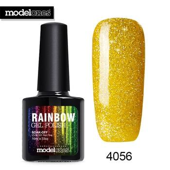 Modelones Newest Golden Color Neon Nail Gel Glue Shining Glitter UV Gel Nail Polish Soak Off Nail Art Beauty UV Nail Gel Paint