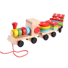 Hot Models building toy train building Blocks Educational Kids Baby Wooden Solid Stacking Toddler Block Toy for Children gifts(China)