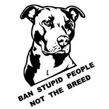 20CM*26CM Ban Stupid People Not The Breed Pitbull Car Sticker And Decals Motorcycle Car Styling Accessories Black/Sliver C8-0847