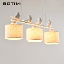 BOTIMI Nordic Indoor Pendant Lights Lampadario Modern Fabric Hanging Lamp With Lampshades Vintage Bird deco luminaria Pendente(China)