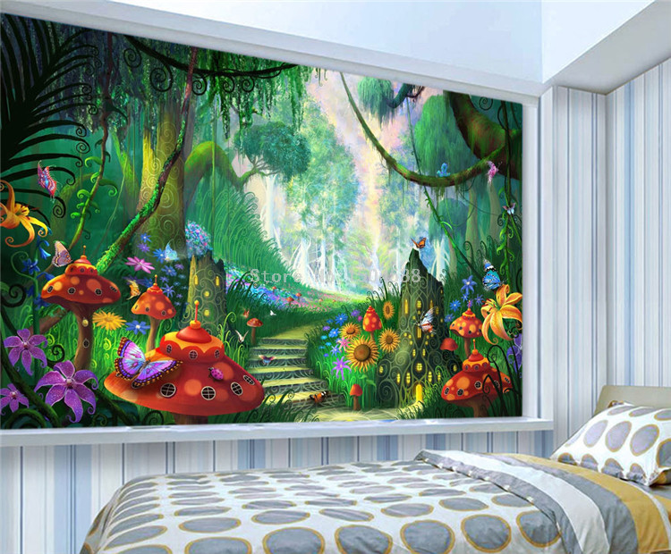 HTB15fn.SpXXXXXJXVXXq6xXFXXXM - Custom Mural Wallpaper 3D Cartoon Fairy Forest Mushroom Path Wall Painting Children Kids Bedroom Eco-Friendly Photo Wall Papers