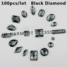 Mix size 100pcs/bag black diamond  Rhinestone Sew On Acrylic Flatback mix shape Gems Strass Stones For Clothes Dress Crafts