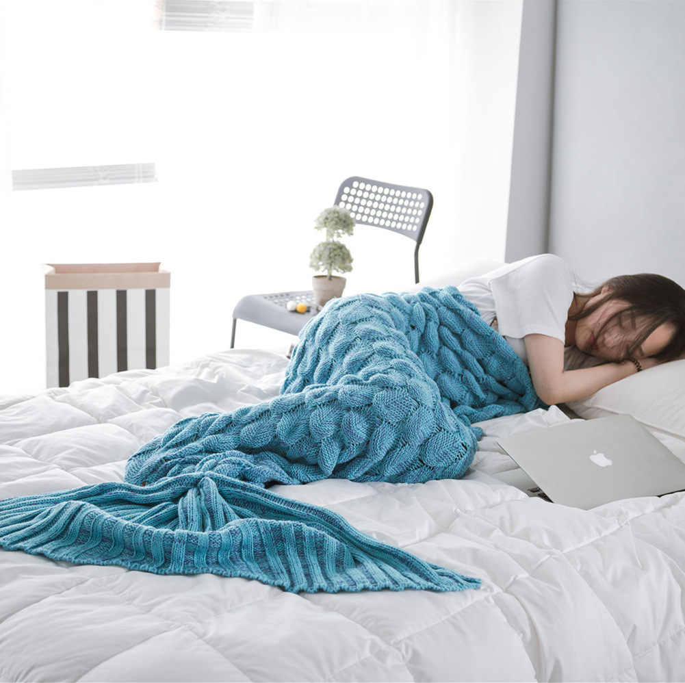 Soft Knitted Mermaid Tail Blanket Crochet Handmade Sleeping Bag for Kids Adult All Season Best Birthday Christmas Gift