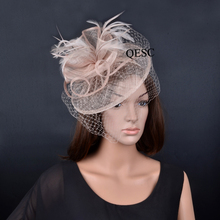 2017 NEW nude beige sinamay fascinator veil hat with feathers for wedding,races,party,Kentucky Derby.QF079(China)
