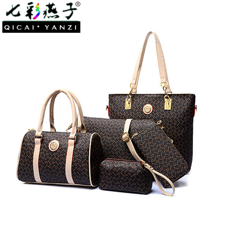 QICAI.YANZI 2017 6pcs/set Ladies Women Handbags Big Female Unique Totes Nylon Messenger Shoulder Bags Printing Top Quality P493<br>