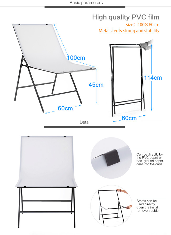 Table Photo 60100cm Folding Portable Shooting Photography Photo Studio Tabletop For Product Shoot Screen+White PVC Backdrops (8)
