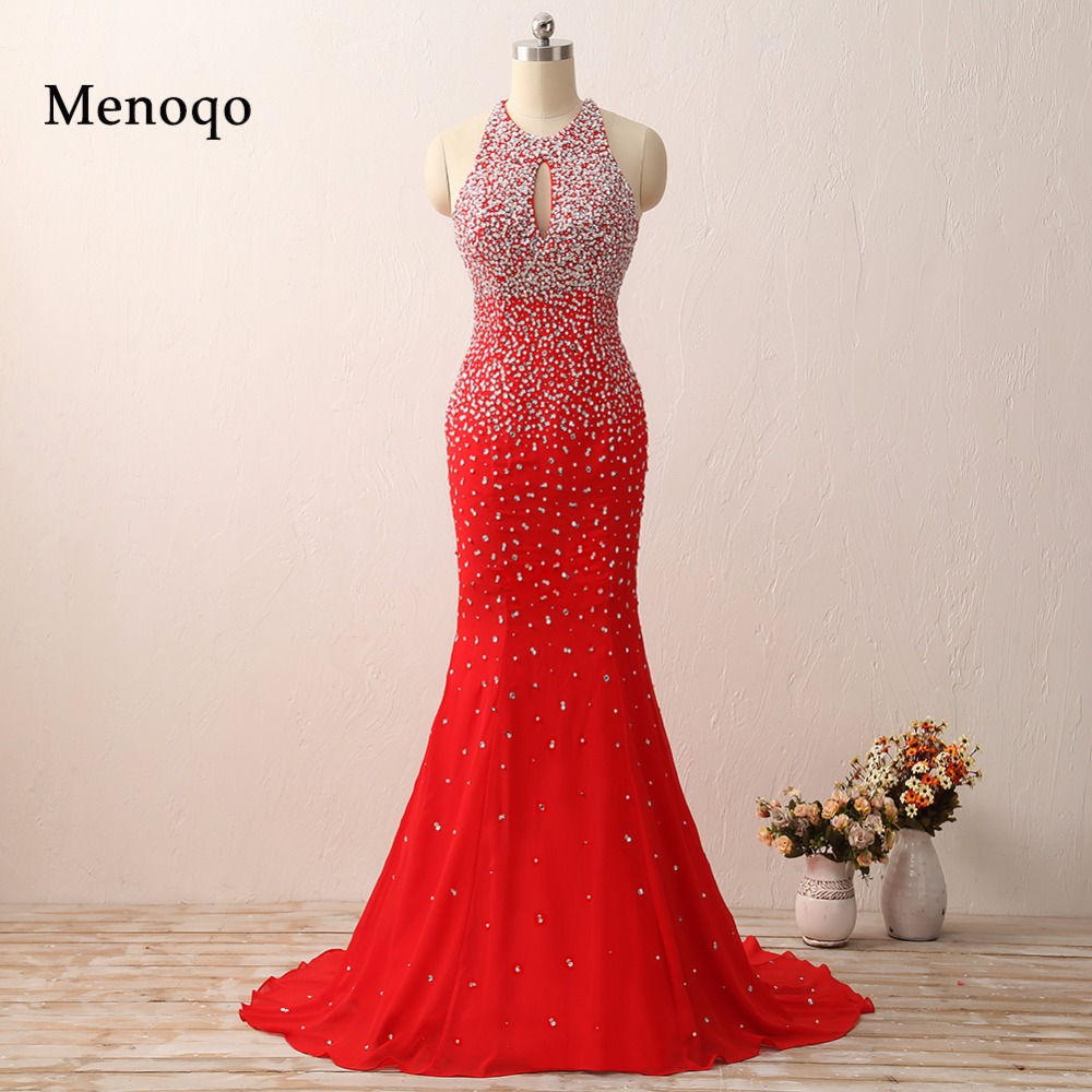 Actual Images 2016 Sexy Mermaid Prom Dresses Halter Floor Length Chiffon  Gorgeous Long Red prom dresses for Women 09ff9f7f1423