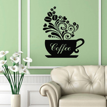 Wall Decals Cup of Steamy Coffee Floral Style Kitchen Cafe Vinyl Decal Sticker Home Interior Design Art Mural Decor