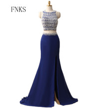 Blue Off the Shoulder Sleeveless Prom Dresses Two Pieces Scoop Backless Sexy Gown Beading Crystal Crop Top Bespoke Dress(China)