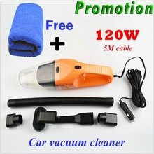 Promotion! Car Vacuum Cleaner 5m 120w 12v Super Suction Wet And Dry Dual Use Vacuum and free Car Cleaning+Washing Cloth
