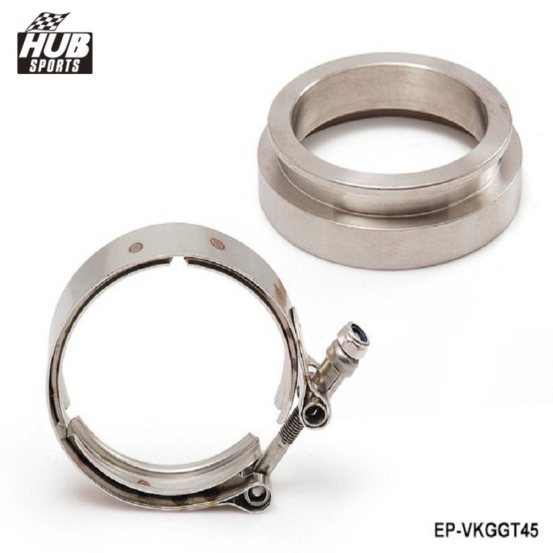 GT45 STAINLESS STEEL TURBO/INTERCOOLER/DOWN PIPE/DOWNPIPE V-BAND CLAMP+FLANGE HU-VKGGT45