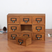 Wooden Storage Cabinet Desk Storage Boxes Storage Holders Retro Makeup Storage Shelf Jewelry Box with 9 Drawers