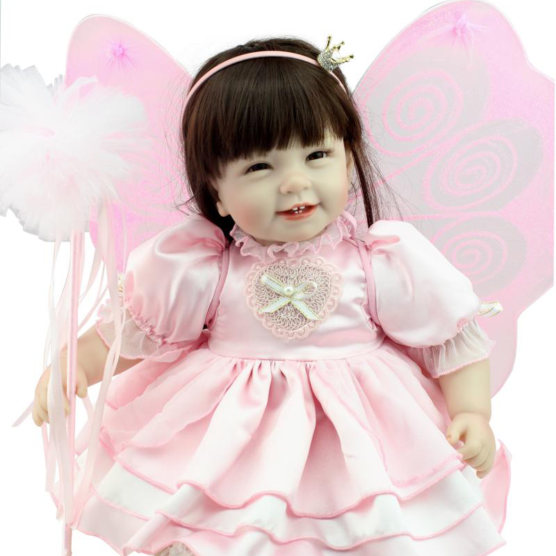 50-55 cm pink clothes Silicone Reborn Baby Dolls 100% safe Baby Toys Play House long hair Body Princess Dolls Reborn Toys Gift<br><br>Aliexpress