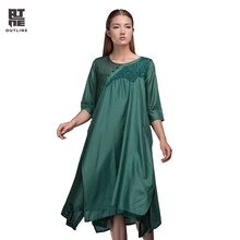 Outline Brand Original Design Casual Dress With Ethnic Style O-neck Loose Women Cotton Dress In Plus Size Woman DressesL153Y007