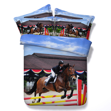 Racing sports comforter bedding sets king queen twin single size brown horse 3d printing duvet cover boys home decor bed sheet