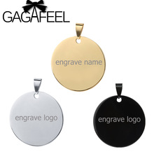 GAGAFEEL 3 Colors Personalized Engraved Name Stainless Steel Round Pendant Necklaces ID Tag Necklace Lover's Jewelry Best Gift