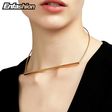 Enfashion Flat Bar Chokers Necklaces Pendants Gold Color Necklaces Stainless Steel Choker Necklace Women chocker Jewelry Kolye(China)