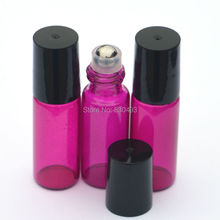 1pcs Hot 5ml Perfume Essential Oil Roll Rose Red Glass Bottle Refillable Empty Roll-On Bottle(China)