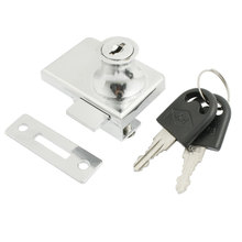 "Silver Tone Metal Keyed Cabinet Lock For 2/5"" 10Mm Hinged Glass Door"