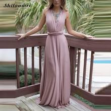 Elegant Silk Multi-way Pink Women Dress 2017 Summer Backless Sexy Long Maxi Dress Wedding Party Beach Prom Lolita Dress Vestido