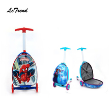 New Fashion Hot Cartoon Children Rolling Luggage Suitcase Scooter Trolley Carry On Travel bag Kids Boarding Box Student Trunk