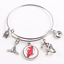 Hockey Sport Fan's Wire Bracelet New Jersey Devils Team Logo Expendable Bangles Jewelry(China)