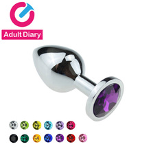 Adult Diary Metat Anal Plug + Crystal Jewelry Stainless Steel Anal Sex Toys For Men Woman Butt Plug Booty Beads Gay Sex Products(China)